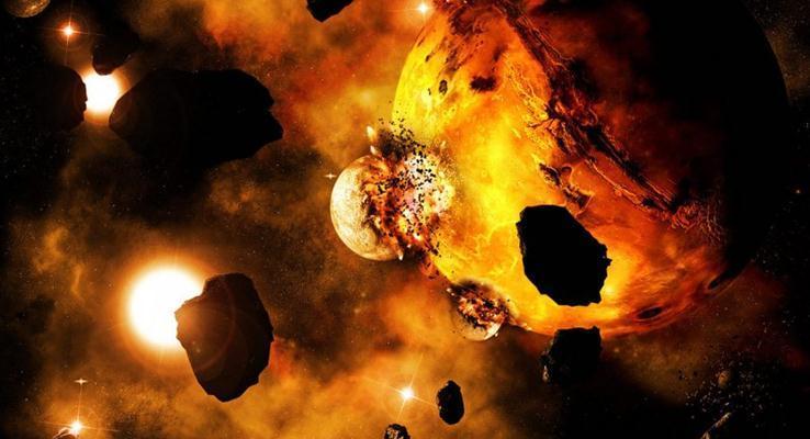 星球的撞击炫彩PPT背景图片