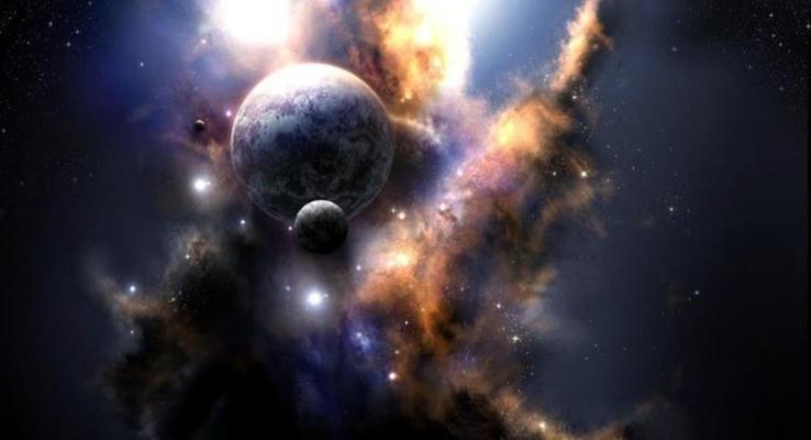 朦胧的星球体炫彩PPT背景图片