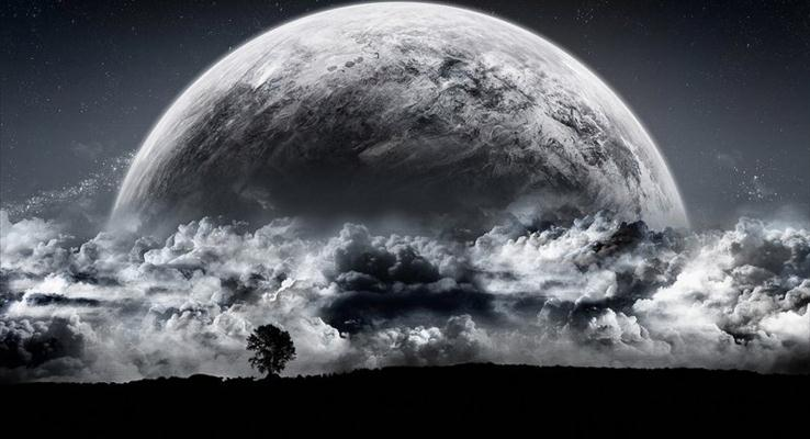 夜色下的孤单月球PPT背景图片