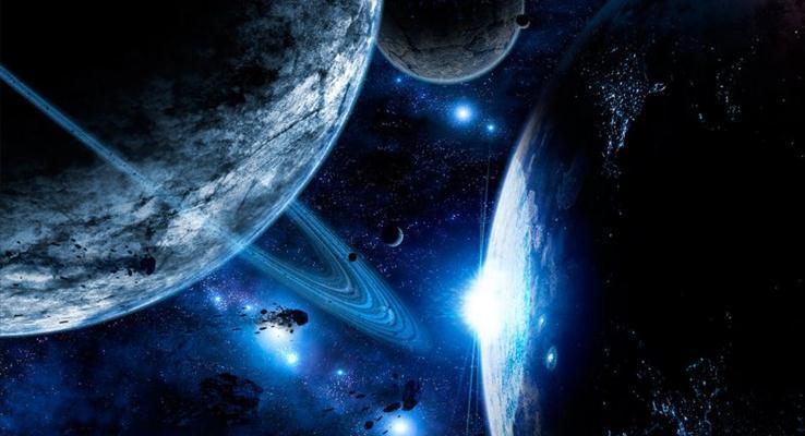 科幻的星球体PPT背景图片