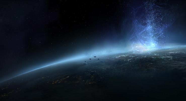 太空上的蓝色极光