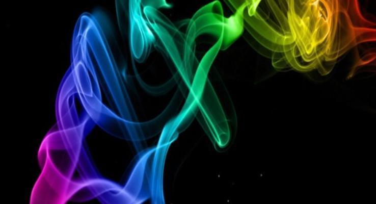 黑暗中的彩色烟雾PPT背景图片
