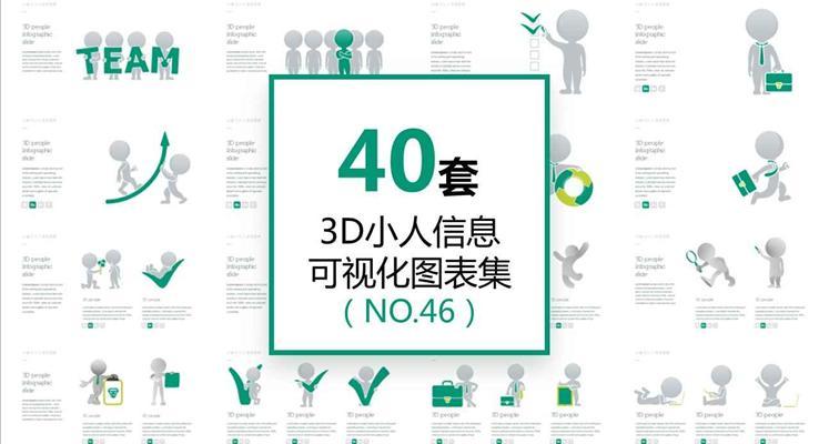 40套3D小人信息图表合集PPT模板