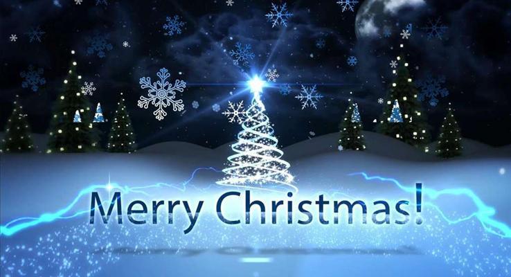 特效动画圣诞节祝福电子贺卡PPT模板