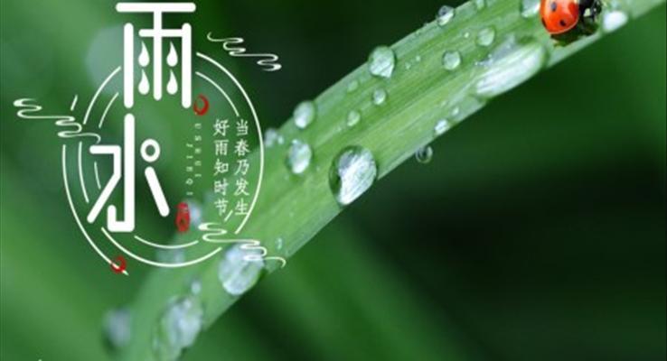 雨水节气介绍雨水ppt模板