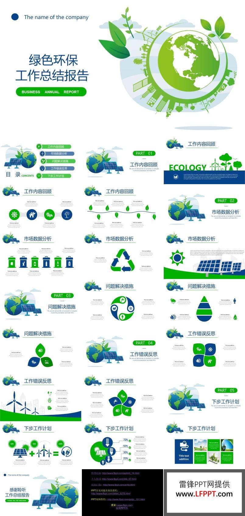 环保工作总结报告PPT